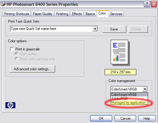 Management Section On The Color Tab In Driver To Switch Off Colour Managemnt Printer And Apply A Profile Your Printing
